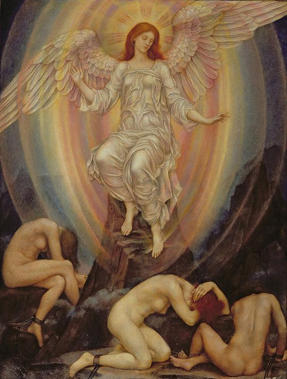 The Light Shineth In Darkness And The Darkness Evelyn De Morgan Comprehendeth It Not Painting