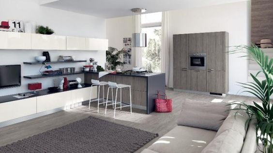 Kleine Küche Scavolini Offen Wohnzimmer Grau Holz | Küche+Wohnzimmer |  Pinterest