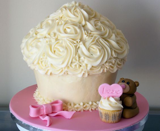 christening giant cupcake with teddy