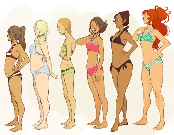 Sketches of ladies of different shapes and heights - lady doodles - drawing reference