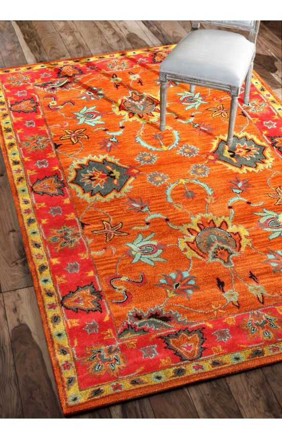 Rugs USA Overdye RE21 Multi Rug. Love the bold orange in a traditional pattern.