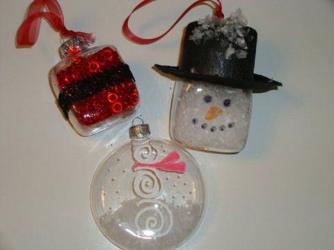 Glass Christmas Ornaments supplies used: paint markers, fake snow, beads, glitter & felt hat all found at local craft store
