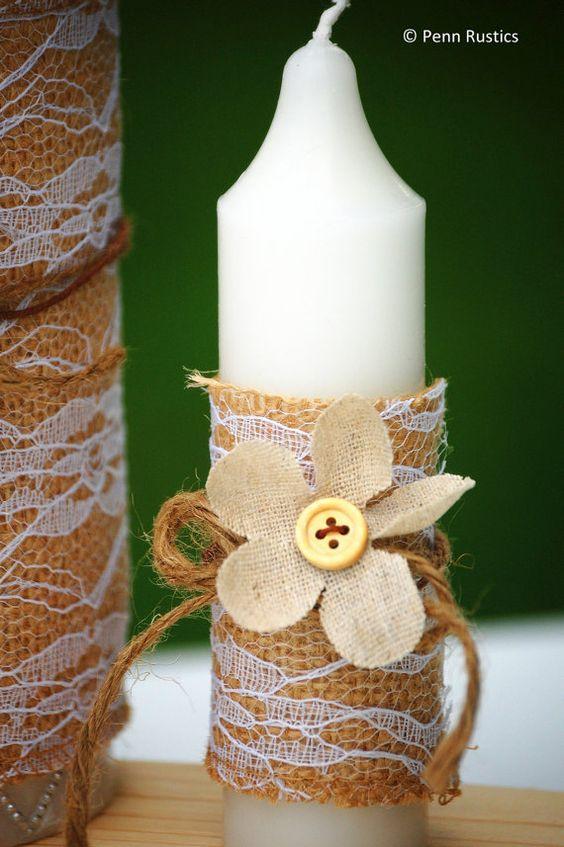 Celebrations Unity Wedding Candle Set by PennRustics on Etsy