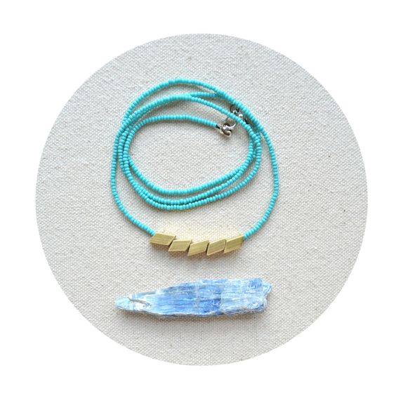 The Helsinki Series in Turquoise- Modern Geometric Necklace. $46.00, via Etsy.