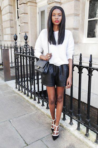 Leather Shorts, Jewel Heels, Sweatshirt
