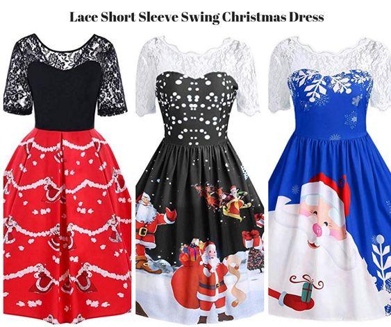 Lace Short Sleeve Swing Christmas Dress