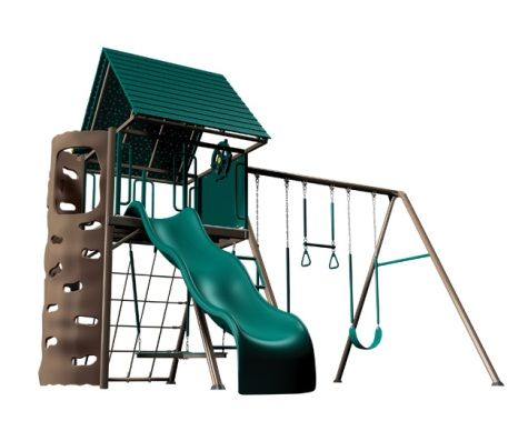 This company makes commercial grade style sets for home use.Love the rock wall & propeller blade swing underneath!