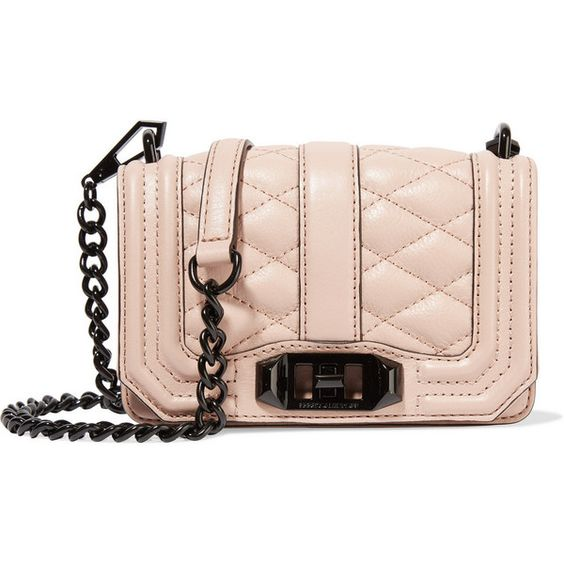Rebecca Minkoff Mini Love quilted leather shoulder bag ($117) ❤ liked on Polyvore featuring bags, handbags, shoulder bags, nude, pink purse, quilted leather handbags, shoulder handbags, miniature purse and pink handbags