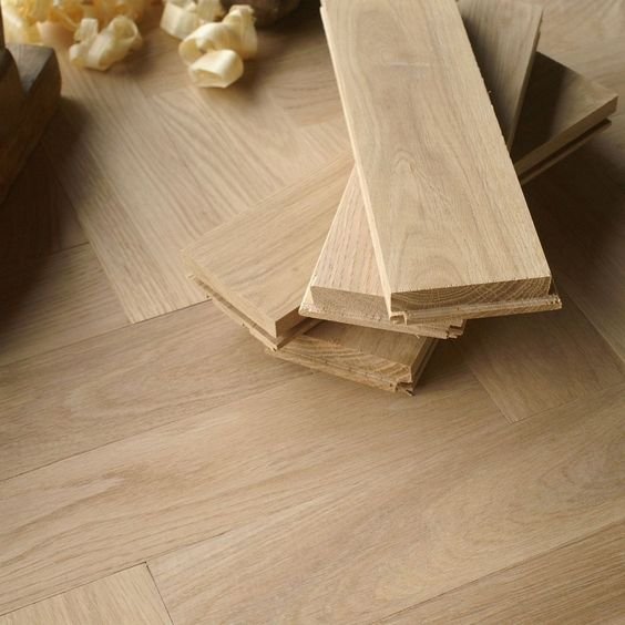 "10"" Prime Grade Herringbone Parquet Flooring - Real Oak Wood - Unfinished H25P"