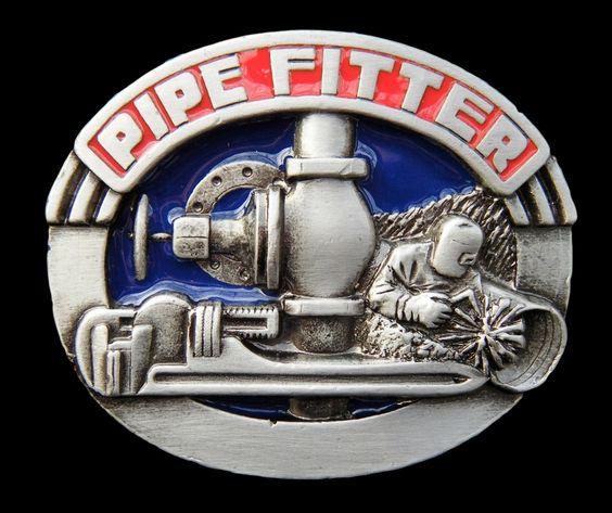 Pipe Fitter Plumber Tool Pewter Sign Logo Belt Buckle