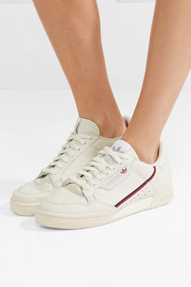White Continental 80 grosgrain-trimmed leather sneakers ...