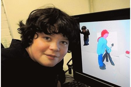 YOUNG ANIMATOR:   Alex Bustamante, 13, makes animated movies using clay models which he uploads to YouTube REAH20120109C-004_C