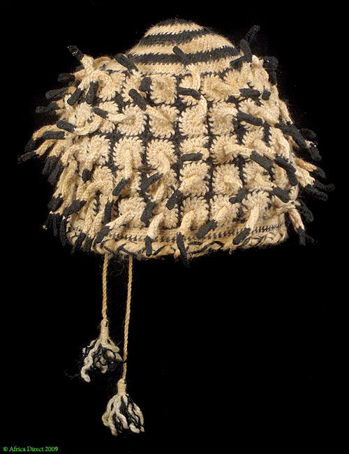 Bamileke Royal Hat with Fingerlings Cameroon African - Hats & Headdresses - Textiles