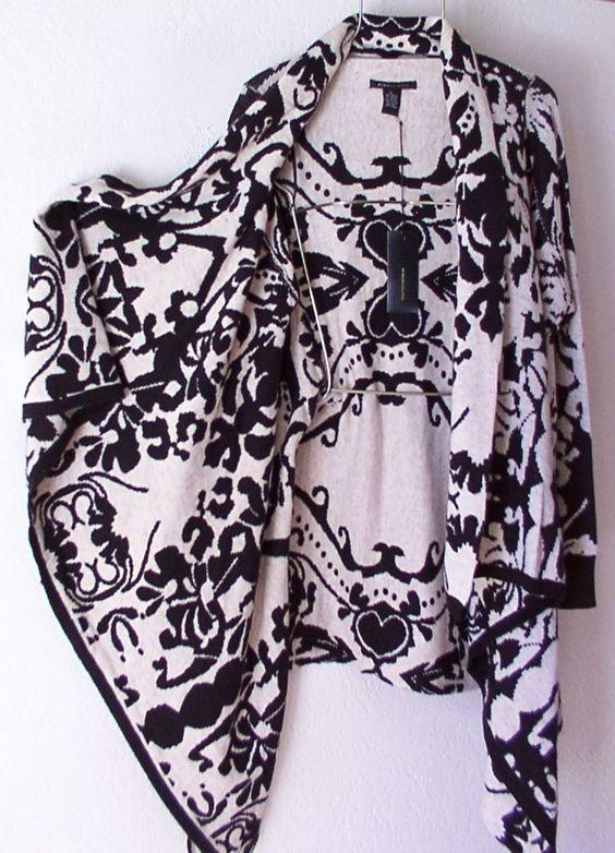 New $240 BCBG Long Black Ivory Cardigan Sweater Duster Boho Top 12 14 L Large | eBay