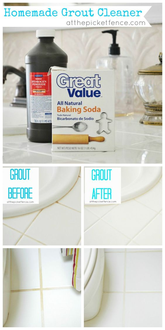 (From pin idea source: Pour baking soda into a bowl and slowly add hydrogen peroxide until you have the consistency of paste. Spread it over the grout lines and press it in while you're spreading. Then leave it for awhile. Then using warm water and a cloth simply wipe down the counters being sure to scrub the grout lines as you work.)