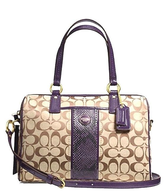ysl patent leather wallet - Authentic COACH Signature PYTHON Stripe Purple Satchel Tote Bag ...