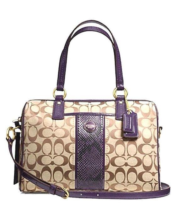ysl patent leather wallet - Authentic COACH Signature PYTHON Stripe Purple Satchel Tote Bag ...
