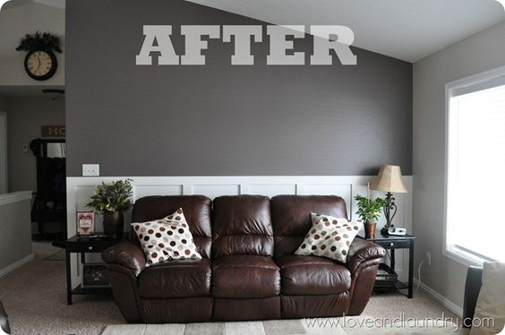 Board and batten love the brown and gray together for Gray living room black furniture