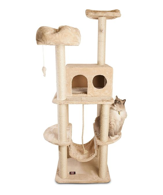 Beige Five-Tier 76'' Cat Tree