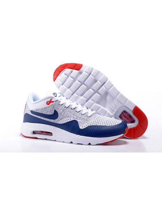 Homme Nike Air Max 1 Ultra Flyknit Gris Blanc Bleu Rouge Chaussures In 2020