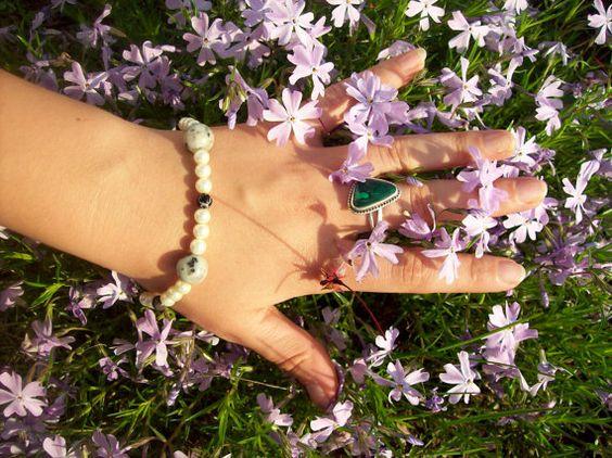 Sesame Jasper Black Onyx and Ecru Pearl Bracelet by MistyRoses4Her, $15.00