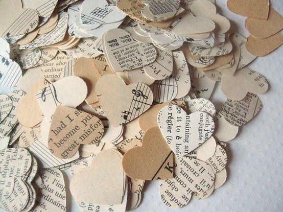 Vintage Paper Heart Wedding Confetti #vintage #wedding #vintage wedding