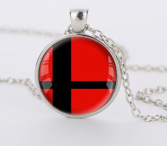 Super Smash Bros Red and Black Pendant