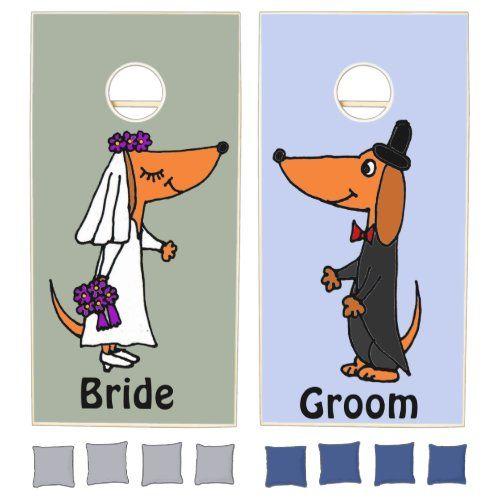 Fun Dachshund Bride And Groom Wedding Cornhole Set Zazzle Com In