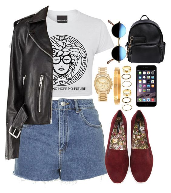 """""""Untitled #2912"""" by valeria-reyna ❤ liked on Polyvore featuring Topshop, Forever 21, Retrò, Michael Kors, Armitage Avenue, Boohoo and Dsquared2"""