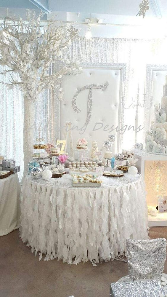 This table skirt is like something out of a fairy tale. Soft and romantic. Perfect for just about any event including weddings, bridal showers, baby showers, holiday dinner parties, or simply for home decor. These table skirts are made with high end fabric and look absolutely beautiful on all