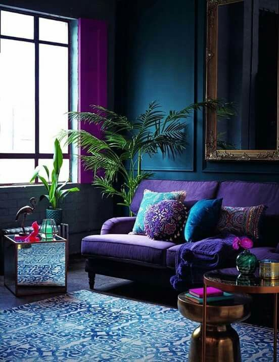 The Overall Dark Purple And Blue Tones Create A Harmonious Space