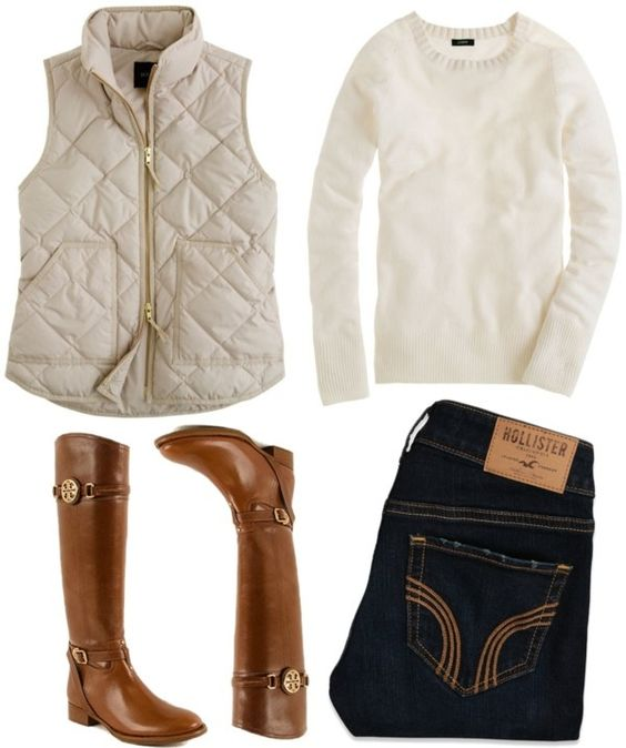winter white vest and sweater with riding boots....I seem ...