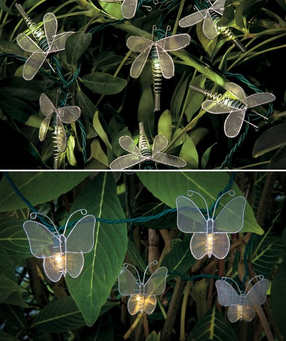 Butterfly & Dragonfly LED Light String - Hang them on shrubs or around your porch. We think they're great for lighting up a nightime pool party or bbq. How would you use them? http://impc.co/1dt8nhL: Pool Parties, Porches Plants, Pool Decor Ideas, Porches Outdoor Decor, Shrub, Nightime Pool, Led Light Strings