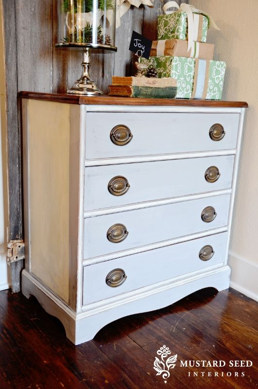 two-toned with stained top: