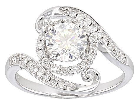 Moissanite Fire 1 65ct Diamond Equivalent Weight Round Platineve Ring Msf925 Gems For Sale Diamond Jewelry