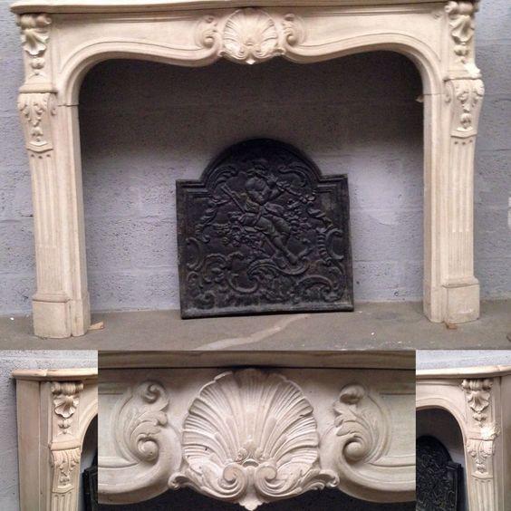 cheminée louis XV régence en pierre ,façade galbée jambage cannelée . XIX siècle .