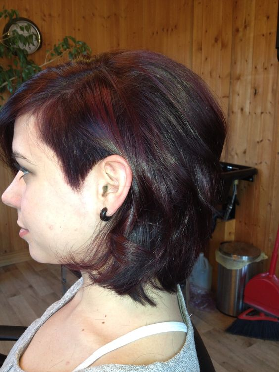 Violet /red color with one side shaved in and Asymmetrical cut on my best Fran !