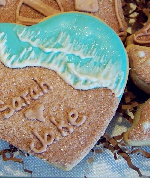 2014 beach themed wedding cookies, heart shaped beach wedding cookies.