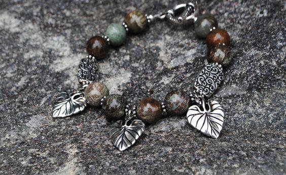 SALE Cottage Chic Jasper Bracelet with Pewter Leaf Charms Beads - Vineyard Gray Bracelet