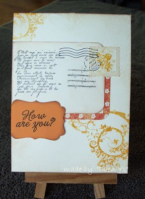 How are you? card - punched label - swirls - postmark - patterned paper