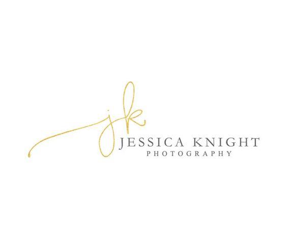Blattgold Handschrift Initialen Logo Design extravagant Fotografie Logo Gold Logo handgeschrieben-Logo