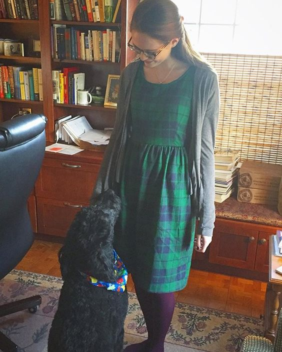 wearing my brand spankin' new #orladress from @frenchnavynow for my birthday and it's got everyone's seal of approval, including the dog's! this dress + my trusty #driftlesscardigan = supreme…