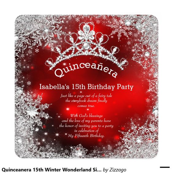 Quinceanera 15th Winter Wonderland Silver Red Invitation: