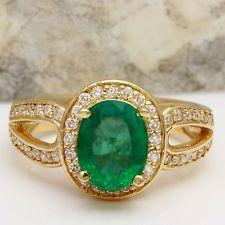 Estate 2.65 Carats Natural Emerald & Diamond 14K Solid Yellow Gold Ring