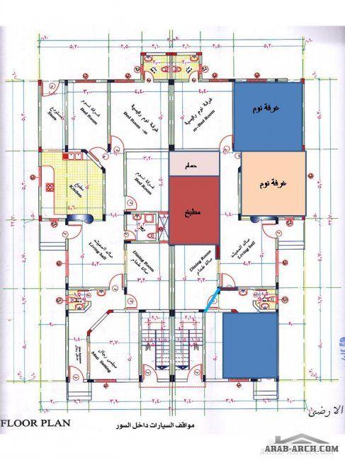 دور ارضي شقتين 150 متر لكل شقه تقريبا Plan Design House Plans Design