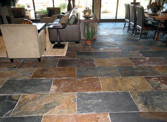 Natural Slate Flooring On Living And Dining Room Flooring Ideas