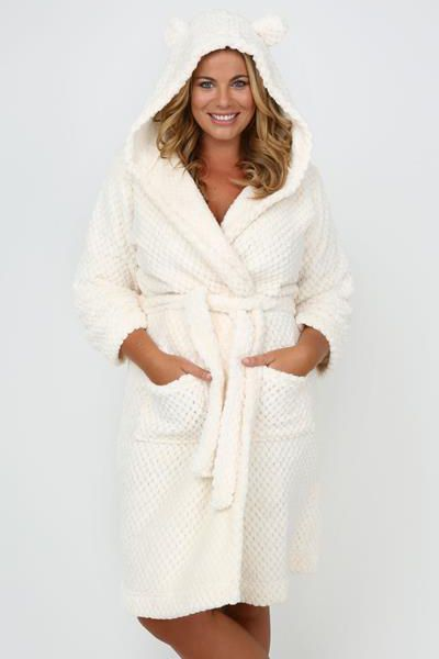 Pink And Cream Fluffy Fairisle Print Dressing Gown With Hood ...