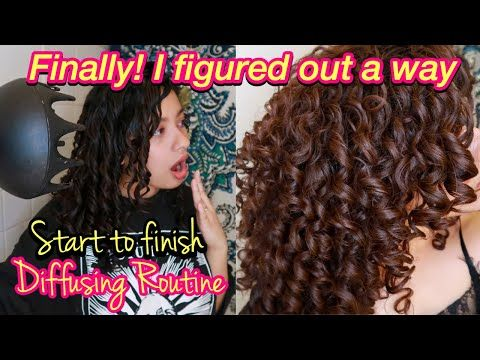 How To Diffuse Curly Hair With No Frizz And Curl Definition Styling To Diffusing Youtube In 2020 Curly Hair Diy Diffuser Curls Curly Hair Styles