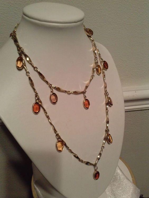 """Vintage crystal OPEN BACK Gold Dangles Amber/Topaz 31"""" INCH Strand…"""