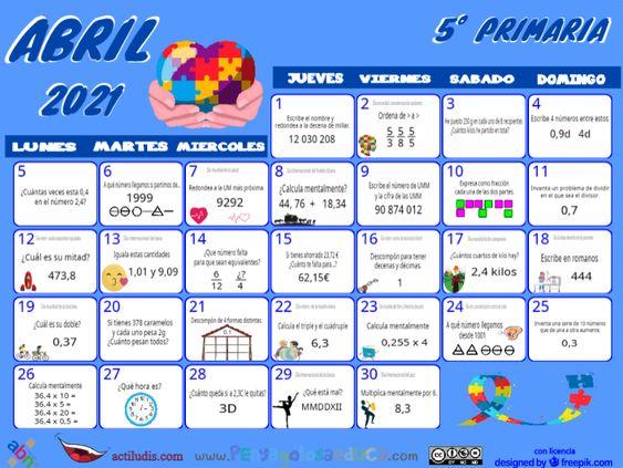 Calendario Quinto ABN – Abril 2021